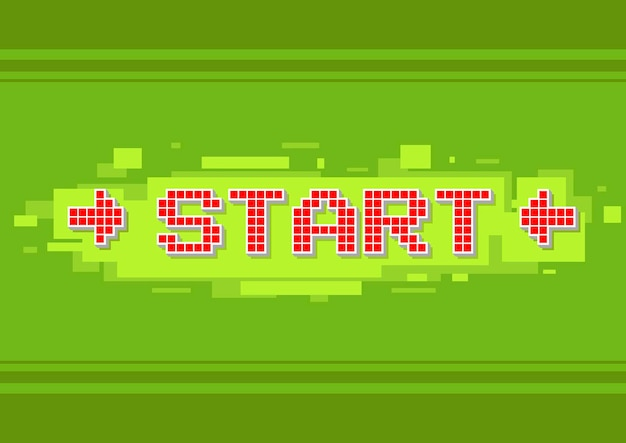 A vector illustration of pixel red text start button on green background illustration