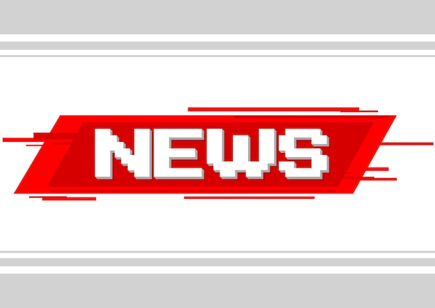 A vector illustration of pixel text news on red background