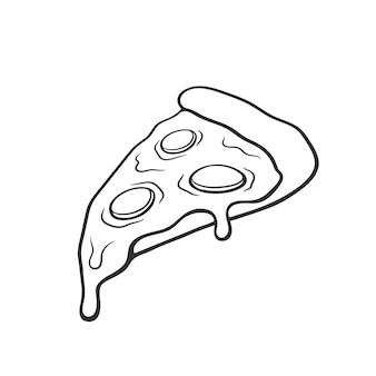 Векторная иллюстрация кусочек пиццы с плавленым сыром и пепперони. рисованной каракули