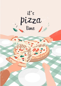 Vector illustration of pizza with text it`s pizza time