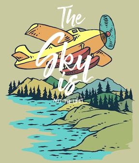 Vector illustration of plane flying on the mountain and lake