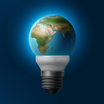 Векторная иллюстрация планеты земля внутри энергосберегающей лампы, изолированной на синем фоне