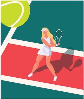 Векторная иллюстрация игрок в теннис, довольно милая девушка с ракеткой