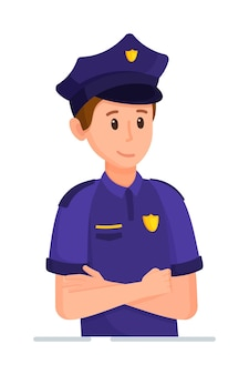 Vector illustration of a policeman character policeman in uniform ready to work