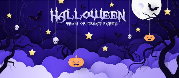 Vector illustration postcard, invitation to the holiday halloween, paper style.