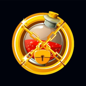 Vector illustration of potions icon with golden lock. gold frame and chain on closed bottle with elixir.