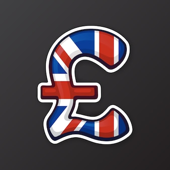 Vector illustration pound sign in national flag colors symbol of world currencies sticker