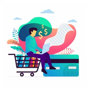 Vector illustration of processing payment online