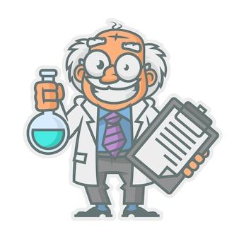 Векторные иллюстрации, профессор держит пробирку и блокнот, формат eps 10