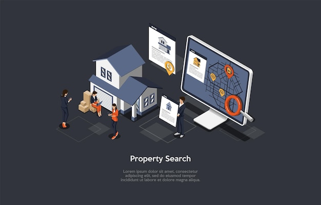 Vector illustration, property search concept. isometric 3d composition, cartoon style. application, website or program for real estate placement and deals. computer with map on screen, characters