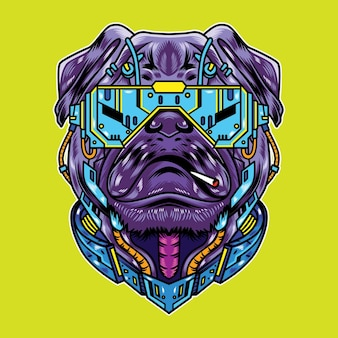 Vector illustration of pug dog with cool futuristic cyberpunk cartoon style in isolated background