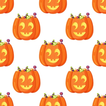 Vector illustration of the pumpkin pattern on a white background. beautiful wrapping paper for halloween. endless drawing of pretty faces.