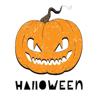 Vector illustration of pumpkin with eyes for halloween