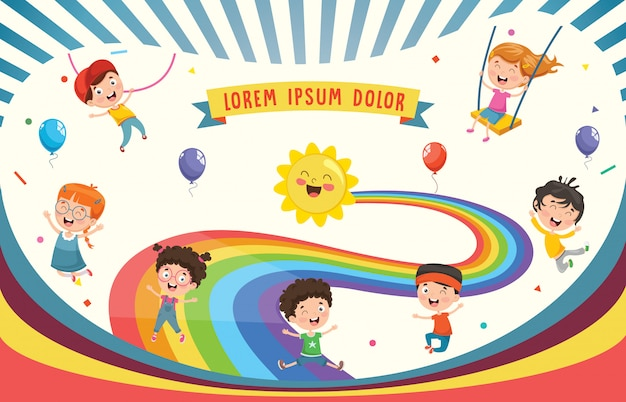 Vector illustration of rainbow children