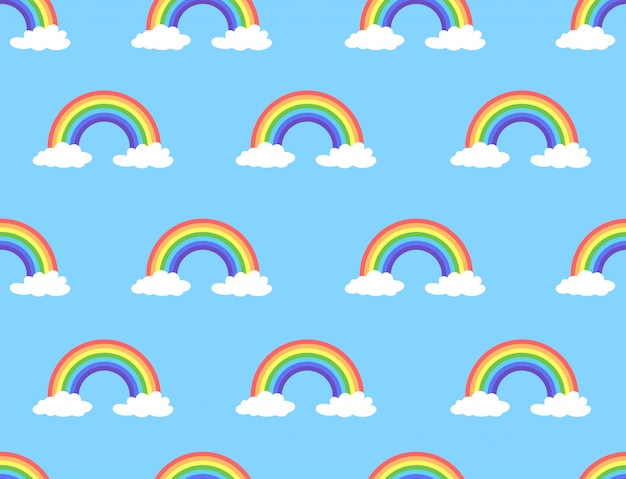 Vector illustration of rainbow and cloud seamless pattern