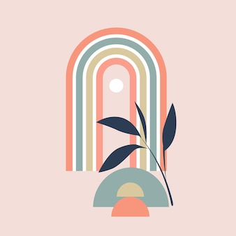 Vector illustration of  rainbow with geometric element and plant sprig on pink background boho