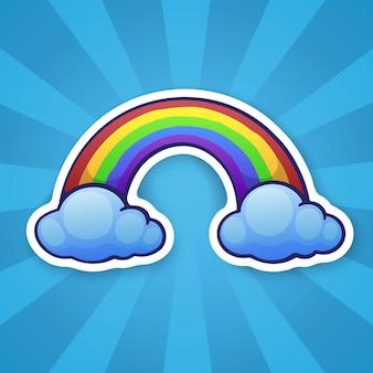 ベクトルイラスト2つの雲と虹気象現象のシンボル