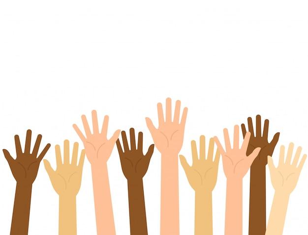 Vector illustration raised hands