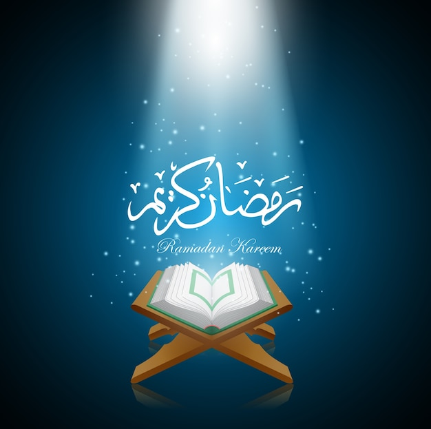 Vector illustration of  ramadan kareem with al quran.