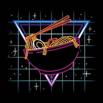 Vector illustration of ramen udon noodle with vintage retrowave neon style in black background