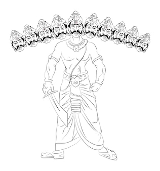 Vector illustration of ravana with 10 heads line drawing