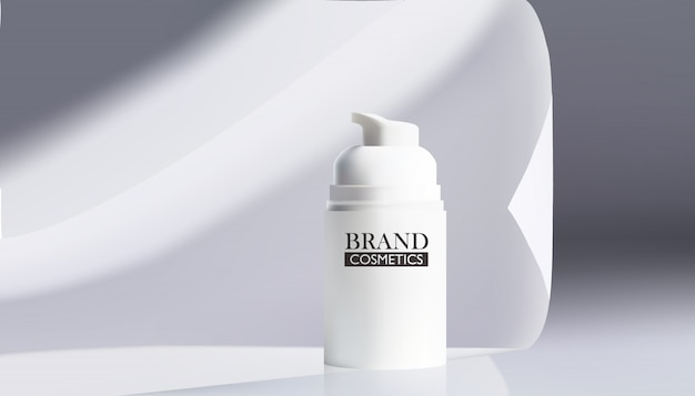 Vector illustration of realistic cosmetic products on white fabric.