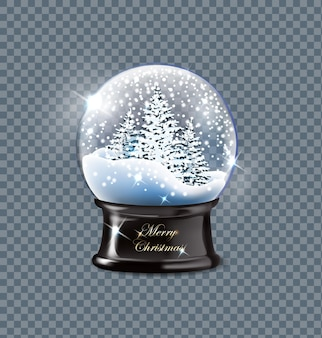 ベクトルイラストリアルな空のクリスマス雪グローブ美しい雪とクリスマスツリー