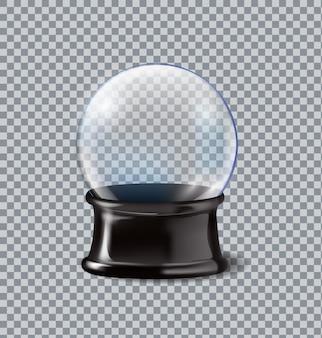 透明な背景に分離されたベクトルイラストリアルな空のスノードーム。