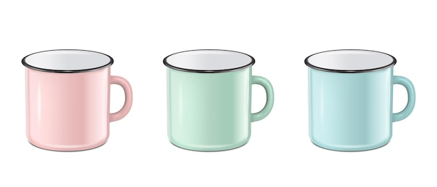 Vector illustration of realistic enamel metal in pastel colors  pink green blue  mug set isolated on white background eps10 design template for mock up