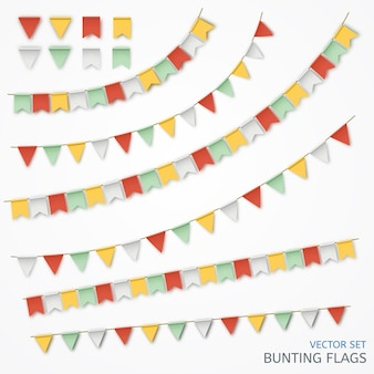 Vector illustration of a realistic garland of colorful flags.
