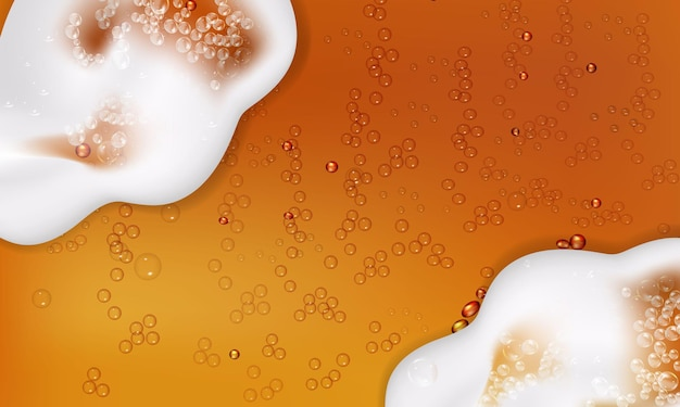 Vector illustration of realistic light or dark beer with foam and bubbles.