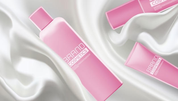 Vector illustration of realistic pink cosmetic products with white fabric satin