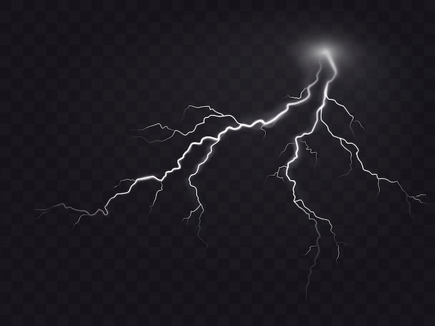Vector illustration of a realistic style of bright glowing lightning isolated on a dark, natural light effect.