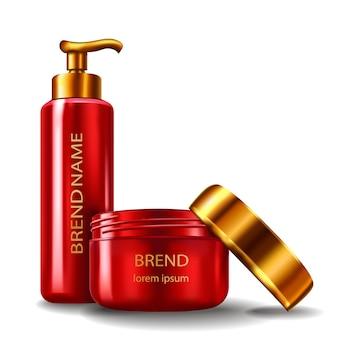 Illustrazione vettoriale di uno stile realistico di contenitori cosmetici in plastica rossa con tappi d'oro