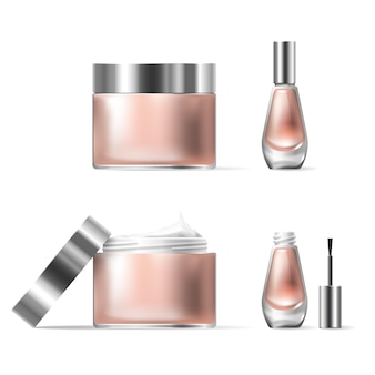 Vector illustration of a realistic style of transparent glass cosmetic containers with open silver lid