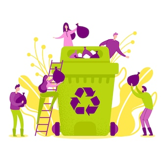Vector illustration recycling in nature flat.