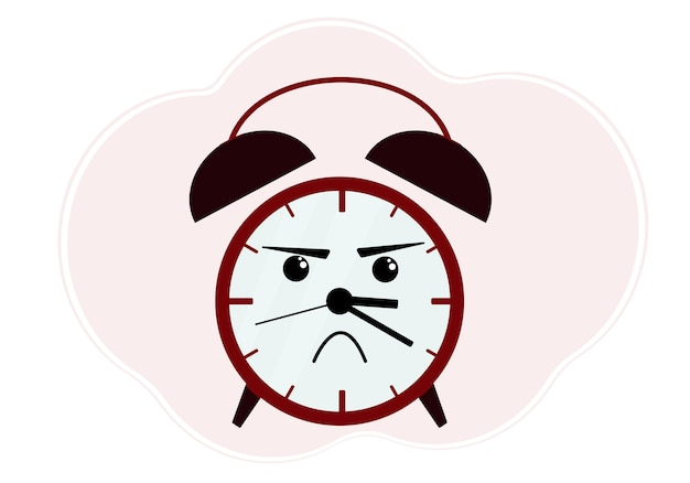 Vector illustration of red alarm clock with angry emotion
