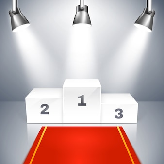 Vector illustration of a red carpet leading to an empty winners podium with three places illuminated by overhead metallic spotlights