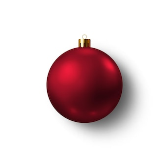 Векторная иллюстрация красная елка игрушка стекло елочный шар украшение