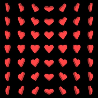 Vector illustration, red heart box rotation 0,30,45,60 degrees