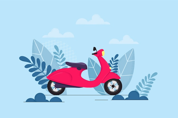 Vector illustration of a red moped with leaves and branches