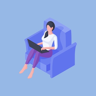 Vector illustration of relaxed female chilling in cozy blue armchair at home and browsing laptop while working remotely on blue background