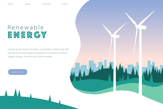 Vector illustration of renewable energy website with wind turbines hills and trees city skyline