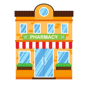 Vector illustration of retro building with pharmacy.