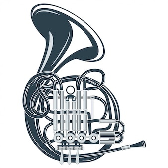 Vector illustration retro french horn