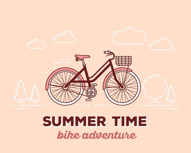 Vector illustration of retro pastel color bicycle with basket and text summer time on outdoor background. bike adventure concept.