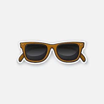 ベクトルイラストレトロなサングラス角縁メガネ輪郭のある漫画スタイルのステッカー