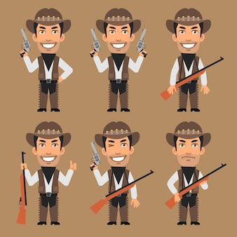 Vector illustration, robber cowboy holds weapons, format eps 10