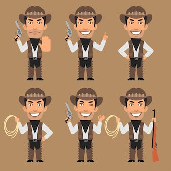 Vector illustration, robber cowboy holds weapons and rope, format eps 10
