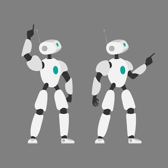 Vector illustration of a robot. futuristic white robot. isolated on a gray background. the concept of the future, artificial intelligence and technology.